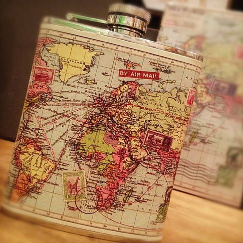 """World Map Hip Flask - """"Round the World' Retro hip flask in a fab silver stainless steel that features an awesome map of the world Vintage graphic in a worn in leather effect. Classic Retro captive screw cap... flip it back to swig."""" would make a PERFECT groomsmen gift, or Birthday Present for your best Drinking Buddy, or a Christmas Present for your boyfriend. gifts for guys."""