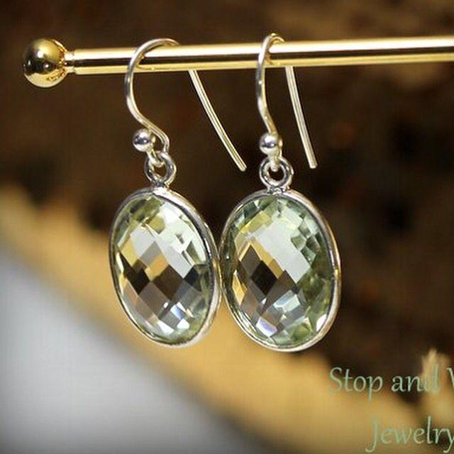 Beautiful Prasiolite earrings  www.stopandwearjewelry.com