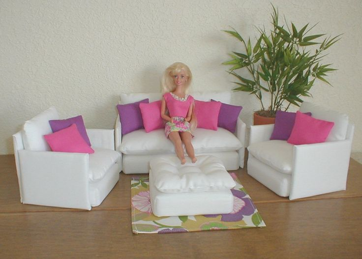 diy barbie | Barbie Furniture Living Room Set WHITE with ZEBRA AND BLACK Pillows ...