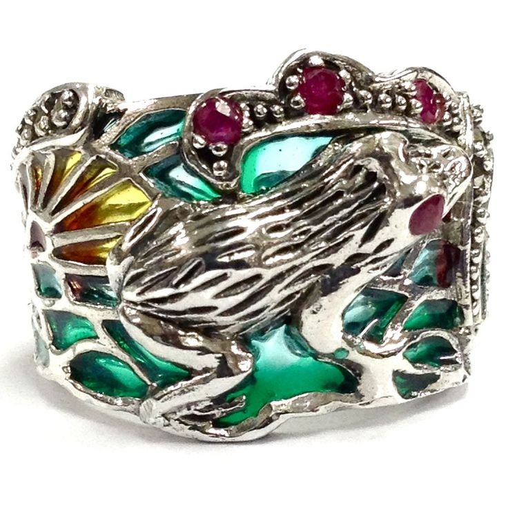 ART NOUVEAU PLIQUE A JOUR FROG SUNRISE RUBY MARCASITE RING 925 STERLING SILVER 7 in Jewellery & Watches, Fine Jewellery, Fine Rings | eBay
