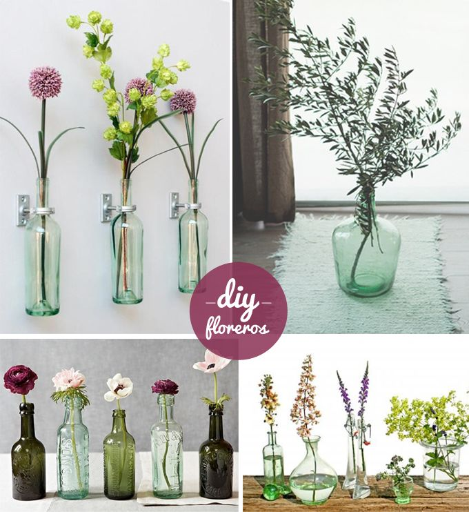 diy floreros con botellas
