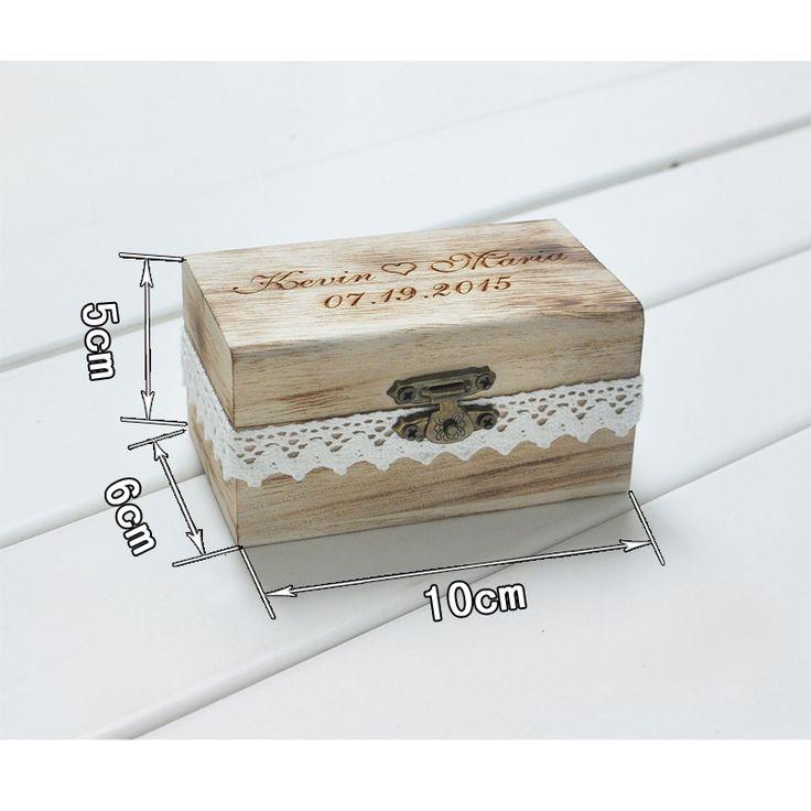 Portador Do Anel de Casamento Presente personalizado Rústico Caixa de Caixa Do Anel De Casamento Personalizado Seus Nomes e Data de Gravar Em Madeira