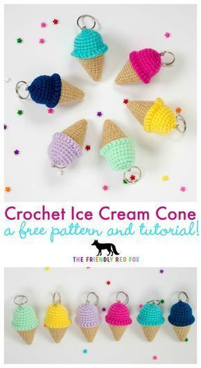Free Crochet Keychain Pattern- Ice Cream Cone. Just two inches tall but a lot of…