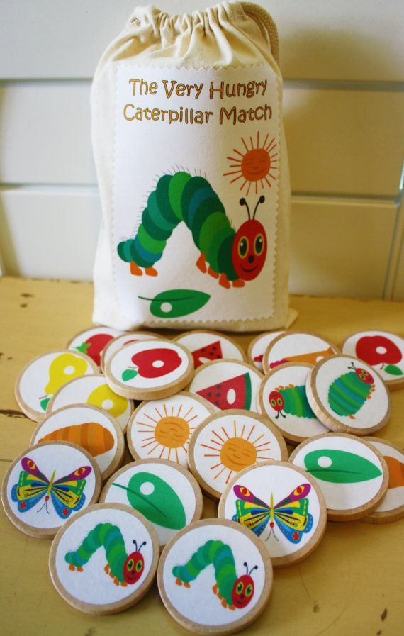 The Very Hungry Caterpillar Wooden Memory Match Game, Educational Toy, Montessori Waldorf Natural Toy Game, Kids Game