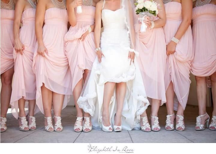 Pink Wedding Dress Shoes : Soft pink bridesmaids dresses wedding