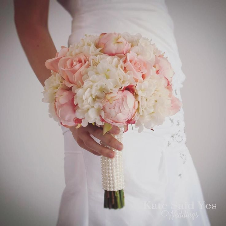 Pearls are a great accent to this peony hydrangea and rose wedding bouquet! Silk wedding bouquets available to order by Kate Said Yes Weddings!