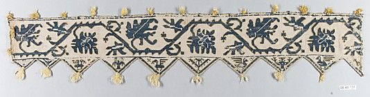 Border    Date:      16th century  Culture:      Italian  Medium:      Silk on linen  Dimensions:      L. 20 x W. 3 1/2 inches 50.8 x 8.9 cm  Classification:      Textiles-Embroidered  Credit Line:      Rogers Fund, 1908  Accession Number:      08.48.131