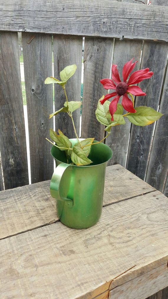 Vintage Aluminum 1950's Beverage Water Pitcher Color Yellow Lime Green Vase Flower Pot Planter Green Home Decor MCM Industrial