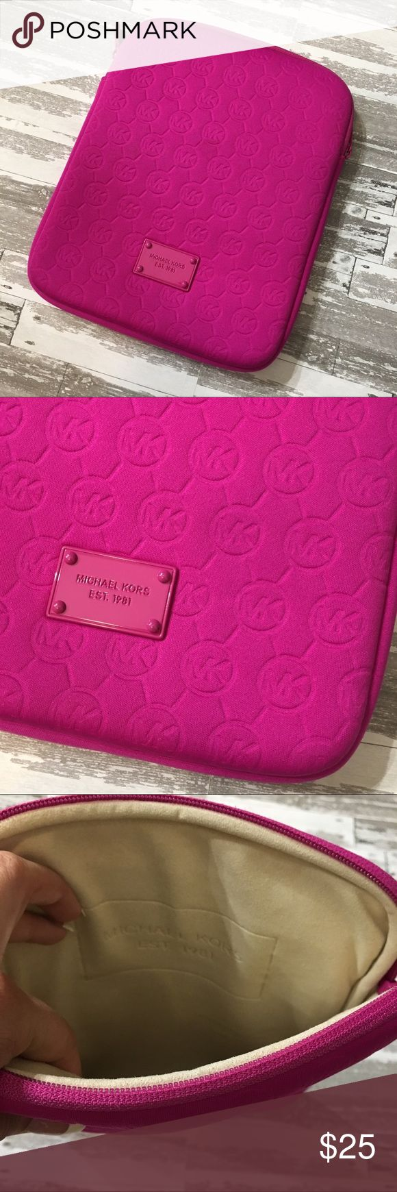 Michael Kors iPad Case Soft Material, great case and very protective. Hot pink/ Fuchsia in color, no wear or marks. Fits regular sized iPad. Michael Kors Accessories Tablet Cases