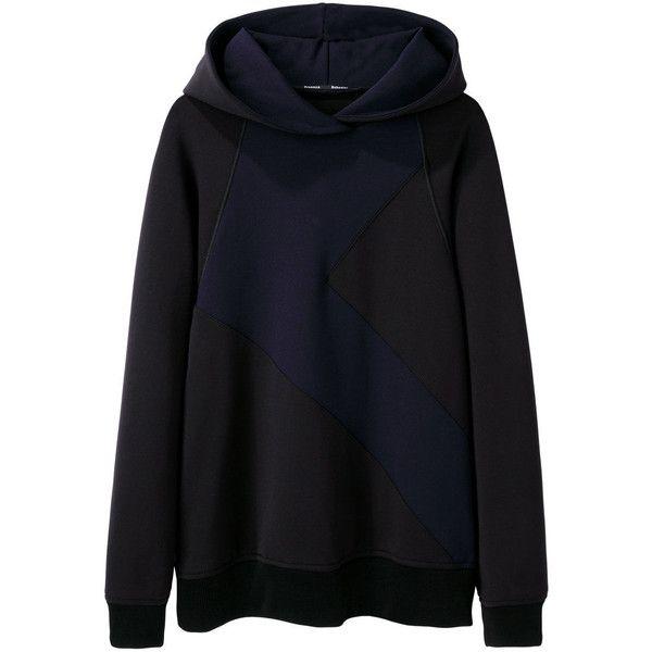 Proenza Schouler Hooded Neoprene Sweatshirt ($420) ❤ liked on Polyvore featuring tops, hoodies, sweatshirts, sweaters, long hoodies, pullover hoodie sweatshirt, raglan sweatshirt, hooded pullover sweatshirt and hoodie pullover