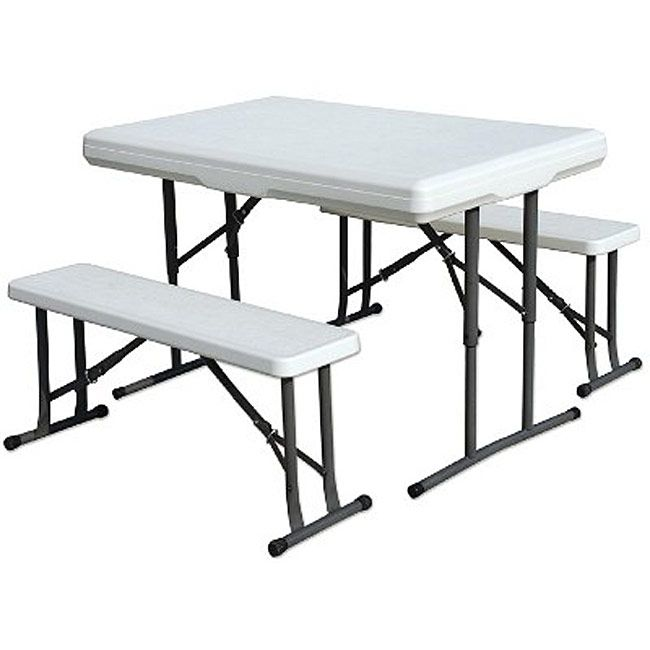 Stansport Folding Table With Bench Seats 44 X 26 X 28