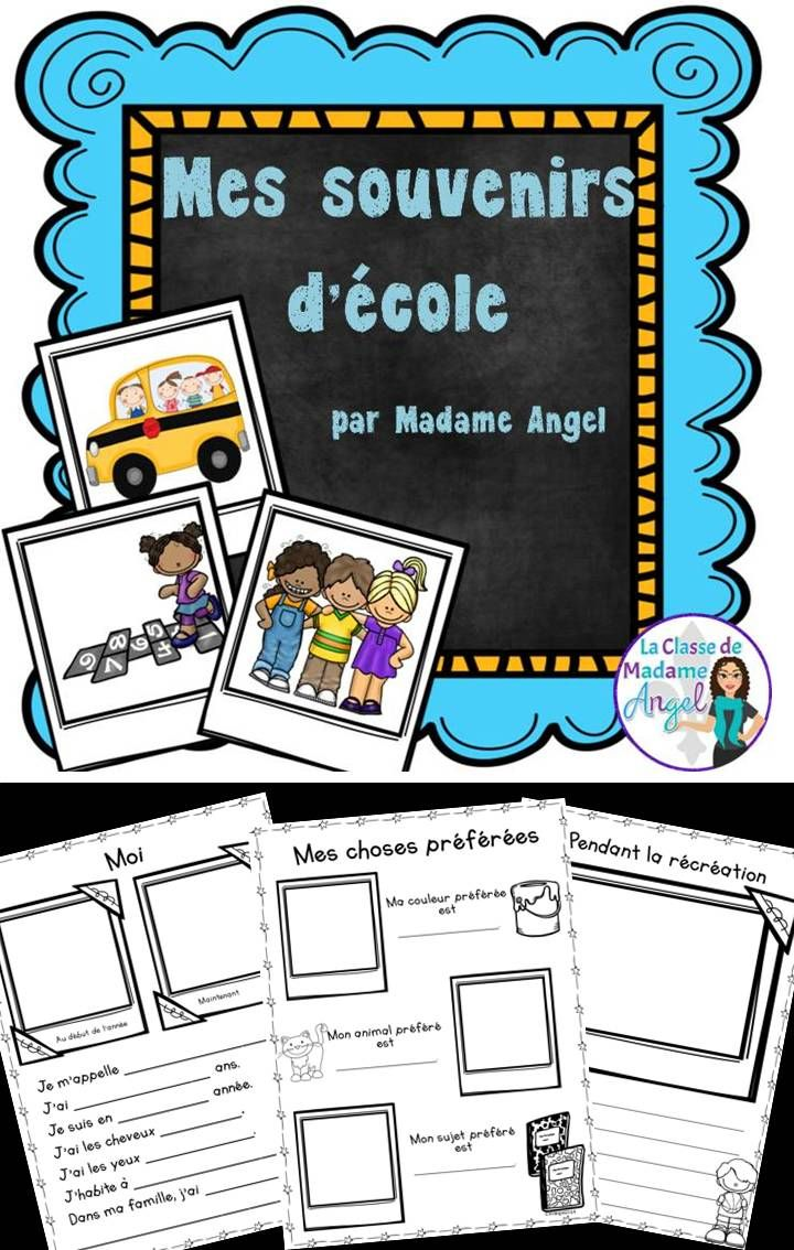"Mes souvenirs d'école!  Fun ""scrapbook"" themed memory book in French!  A perfect way to remember the year."