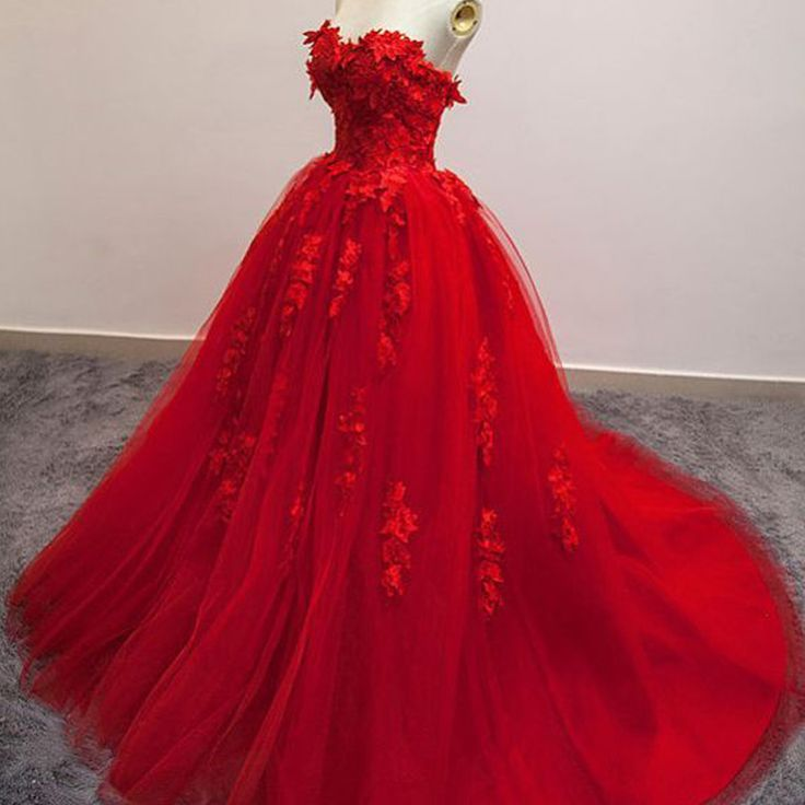 ==> [Free Shipping] Buy Best Real Evening Gown Dresses Floor Length Sweetheart Neckline Tulle Lace Appliques Ball Gown Red Prom Dresses Arabic Online with LOWEST Price | 32752162722