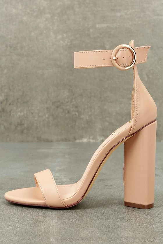 acffb4e4f4 The Kamali Nude Ankle Strap Heels are a timeless treasure! A classic single  sole silhouette, with toe strap and structured heel cup, is molded from  sleek ...