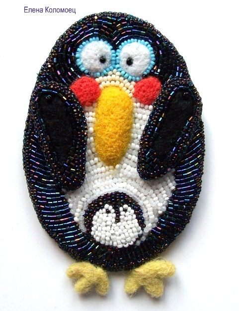 """Брошь """"Пингвин""""   biser.info - всё о бисере и бисерном творчестве"""