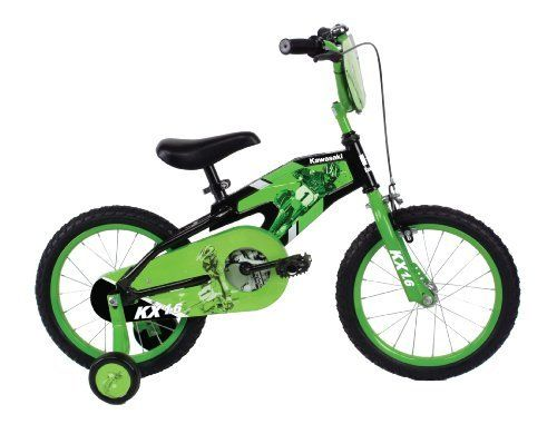 """Kawasaki Mono Boys 16- Inch Bike, Black/Green by Kawasaki. $94.99. Amazon.com                Tired of the same-old style of boys' bikes? Turn to the Kawasaki Monocoque 16-inch boys' bicycle, which offers a durable steel monocoque (French for """"single shell"""") frame that's sure to stand out in a crowd. The bike, which is intended for kids just learning to ride, offers such features as a fully enclosed chainguard that keeps your child's fingers safe, along with a set ..."""