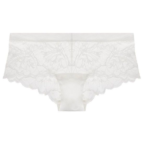 La Perla Wisteria OffWhite Leavers Lace Shorts ($175) ❤ liked on Polyvore featuring intimates, panties, briefs, white, white knickers, la perla and lace knickers