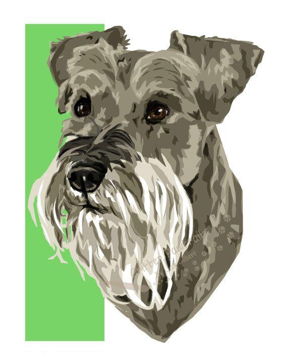 FLASH SALE - Schnauzer Illustrated Print Miniature Giant Pedigree Pet Dog Art Critter Pawtraits
