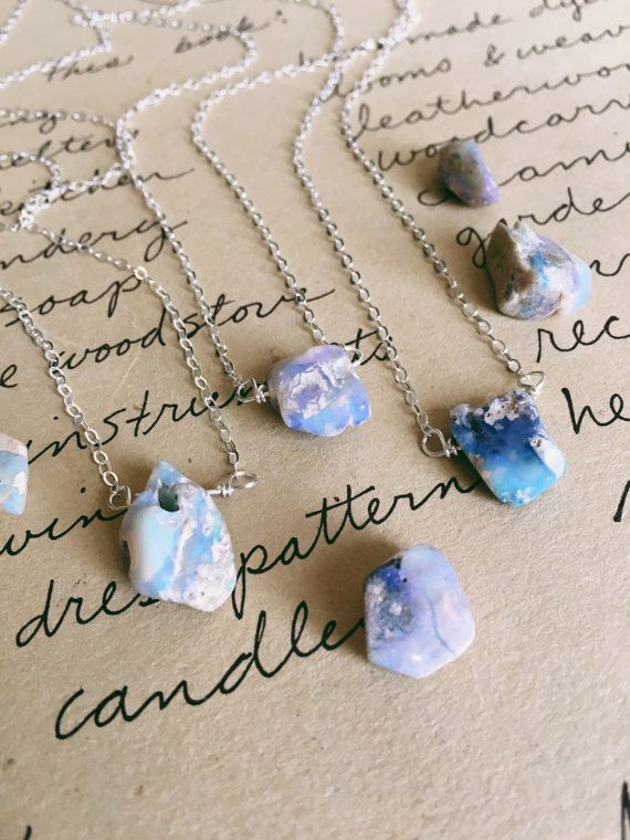 Opal Necklace Raw Opal Necklace Opal by CatchingWildflowers