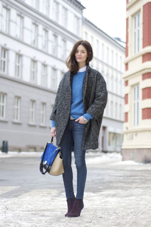 Hedvig in a knit by Ralph Lauren, jeans by J Brand, coat and shoes by Isabel Marant, belt by Mango, watch by Tagheuer and bag by Celine.