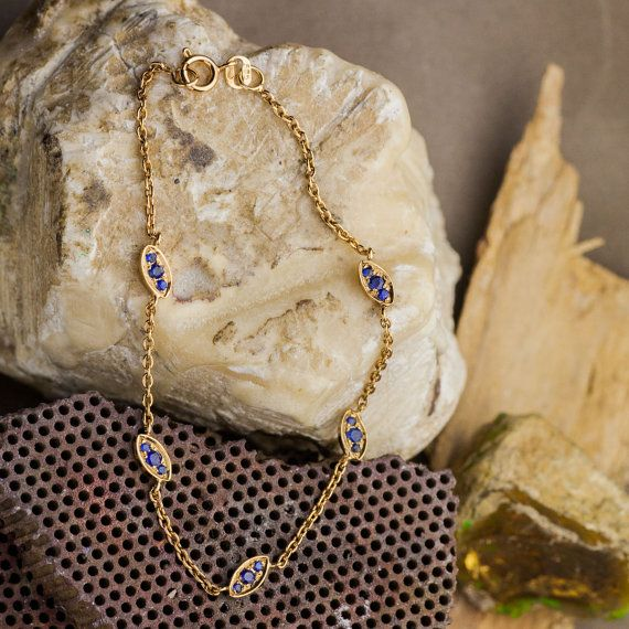 Natural Blue Sapphire Bracelet in 14K Yellow Gold by ZEHAVAJEWELRY
