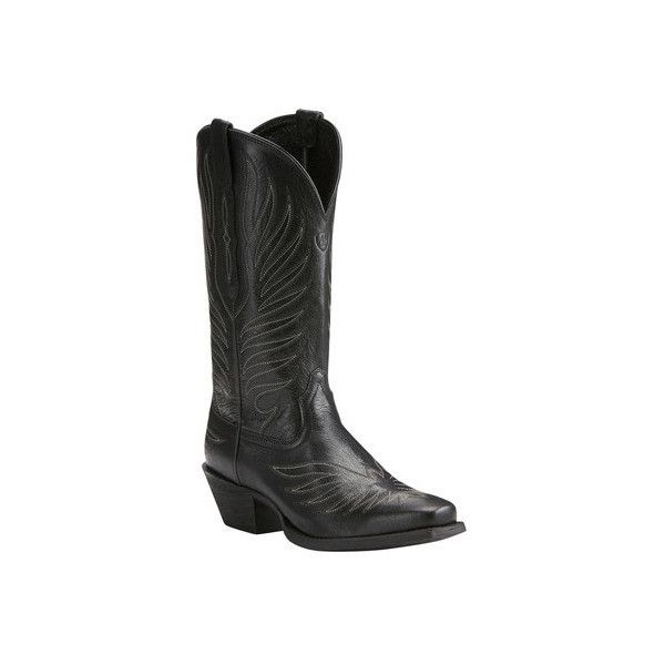 Women's Ariat Round Up Phoenix Cowgirl Boot (3.525 CZK) ❤ liked on Polyvore featuring shoes, boots, casual, riding boots, western boots, black leather boots, cowboy boots, black leather knee high boots and leather cowboy boots