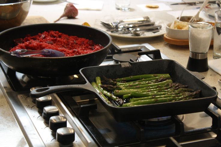 Grilled asparagus and half way through a beetroot risotto