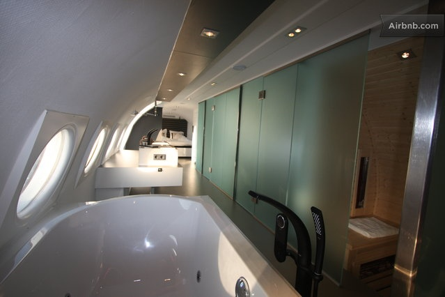 Stay in an airplane with a sauna? Don't mind if I do