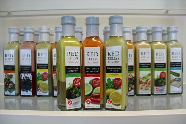 Red Kellys dressing varieties. *Lemon and Oregano *Pepperberry *Apple Infused Balsamic *Basil and Garlic *Caesar *Lemon Myrtle *Sweet Chilli *Sweet Chilli and Lime