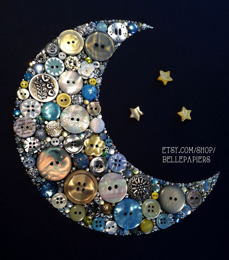 Button Art! Button & Swarovski Crescent Moon & Stars!