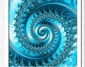 Items similar to Aqua blue fractal spiral print, aqua art, blue fractal decor, square art, wall decor, light blue fractal poster,meditation art, teal mandala on Etsy