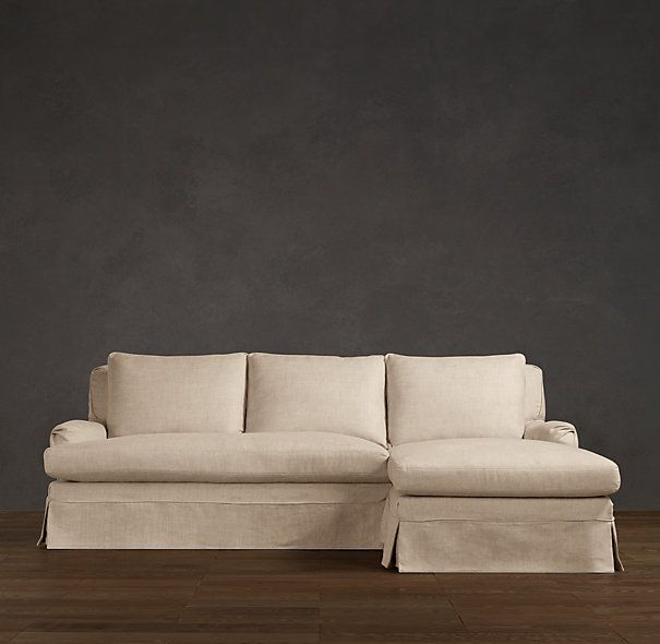 Belgian Classic Roll Arm Slipcovered Sofa Chaise Sectional