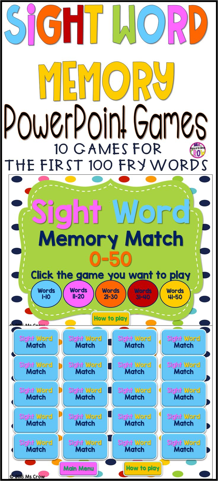 Sight Word Games 10 Powerpoint Games  Memory Match Sight Words