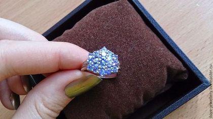 Изящное кольцо с волшебными натуральными танзанитами - сиреневый,танзаниты кольцо