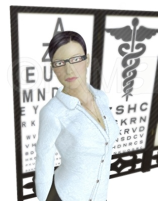 3D image of a pretty girl wearing glasses with an optometrists chart behind her as a backdrop. Buy this unwatermarked at http://3dstockimage.com/index.php?user=7297=1
