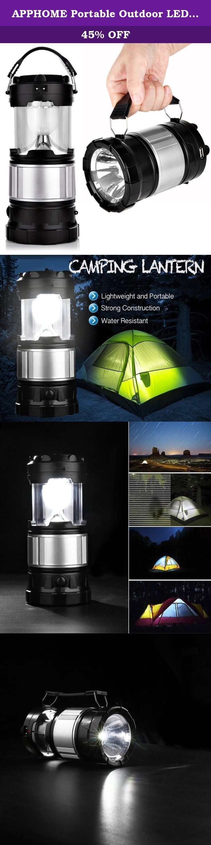 APPHOME Portable Outdoor LED Camping Lantern Solar Lamp Lights Handheld Flashlights with Rechargeable Battery for Backpacking, Hiking, Fishing, Emergencies Outages(Black,Collapsible). This APPHOME Solar Lantern is an extremely versatile source of light whether around the house, in the backyard, or on a camping expedition. We just updated the packing box, please do not worried about its quality. Travel Farther Lighter This compact solar lantern is designed for outdoor enthusiasts. The...