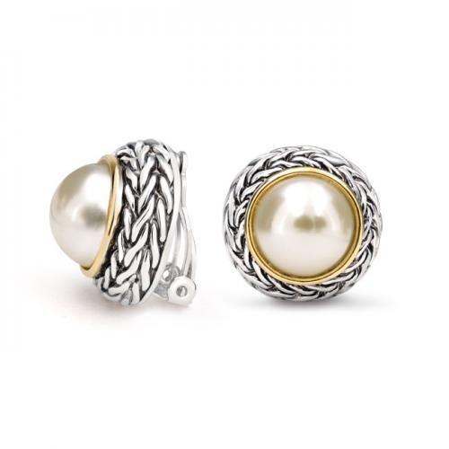 Braided Bali Style Pearl Clip On Earrings