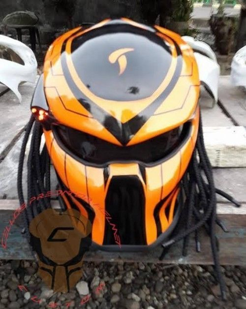 AMAZING PREDATOR HELMET MOTORCYCLE STYLE DOT APPROVED #CELLOS