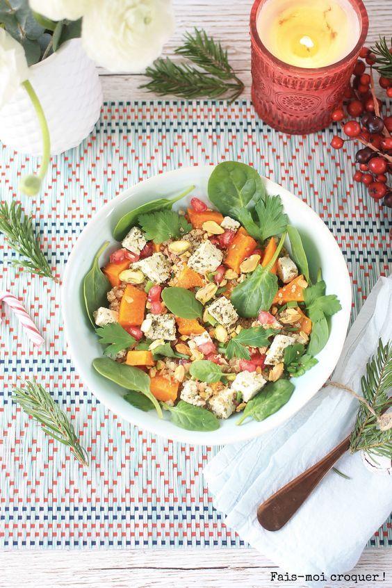 Salade de quinoa, butternut rôtie, pistache, épinard et grenade {detox vegan gourmande}