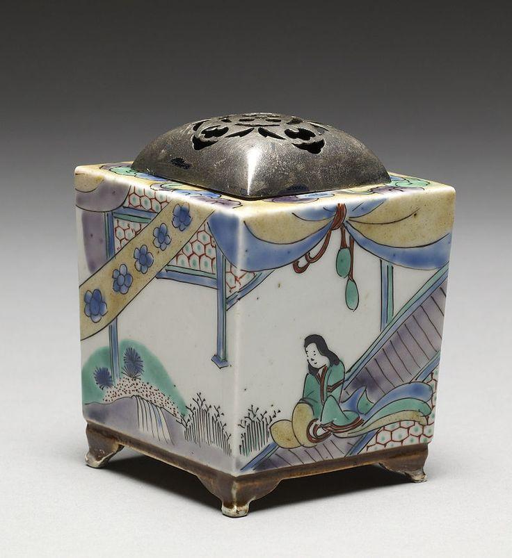 "Japanese - Incense Burner (""Koro"") with Domestic Scenes - Walters 49475 - Three Quarter View B - Arita ware - Wikipedia"