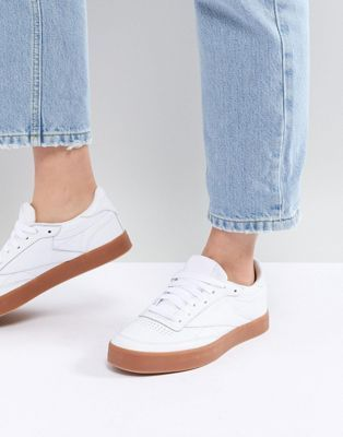 cd0bf782764 Reebok Classic Club C 85 Sneakers In White And Gum