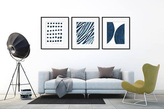 Set van 3 muur kunst. Minimalistische kunst Set. Abstracte kunst wordt afgedrukt. Set van 3 afdrukken.  Blauwe kunst afdrukken instellen. Minimalistische kunst aan de muur. Schilderij set