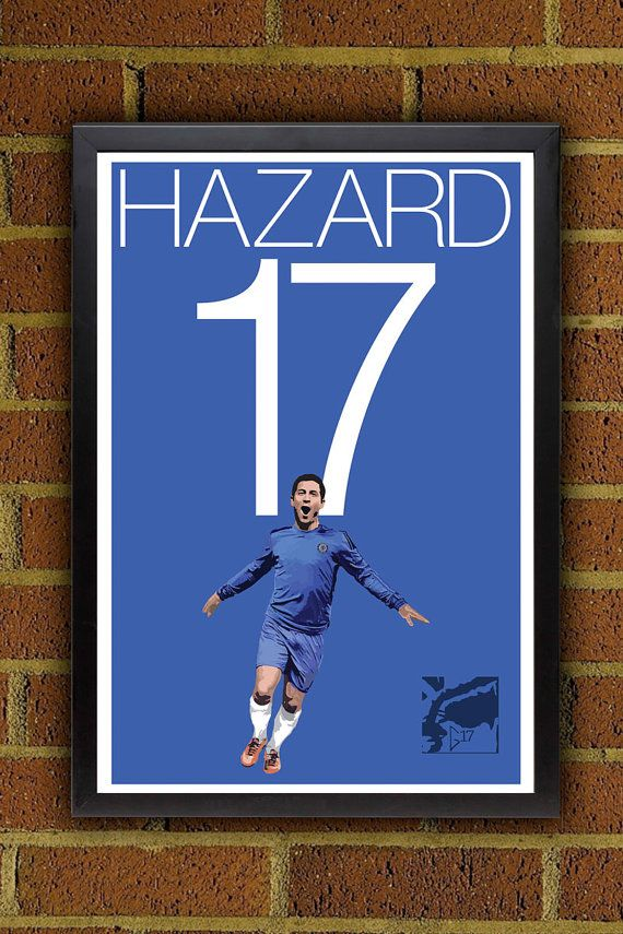 Eden Hazard 17 Poster - Chelsea FC - Belgium Soccer Poster- 13x19 poster, art, wall decor, home decor, premier league on Etsy, $19.99