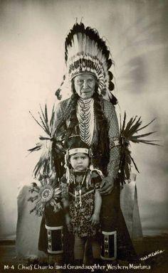 Chief Martin Charlo and his granddaughter - Flathead - before Martin Charlo's death in 1941