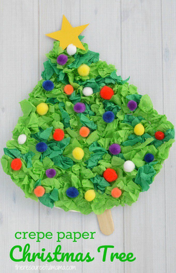 This Crepe Paper Christmas Tree Craft uses paper plates, crepe paper, and pompoms to create a fun and festive Christmas kid craft. #kidsactivities #ChristmasTree #christmas