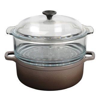 Cocotte en fonte émaillée avec cuit vapeur en verre Vap'fonte