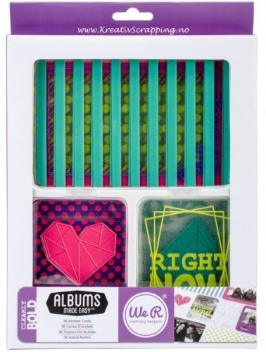 WE R MEMORY KEEPERS - JOURNAL CARDS CB62490 - CLEARLY BOLD Perfekt til dine scrapbooking behov.Denne pakken inneholder hele 36 acetate kort.WE R MEMORY KEEPERS - CLEARLY BOLD -Made Easy Journaling Cards.Acetate. A perfect addition to your scrapbooking and journaling projects. This package contains twenty-four 3x4 inch cards in eight different designs (three of each design) and twelve 4x6 inch cards in four different designs (three of each design). All cards are acetate.