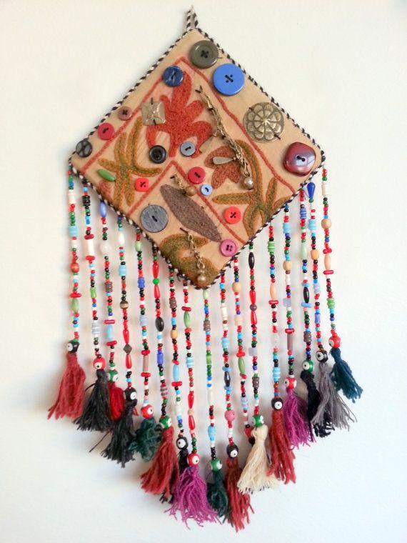 Vintage Suzani Embroidery Amulet Handmade