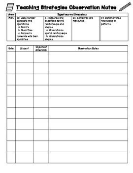 Use this sheet for recording Teaching Strategies Gold observation notes for the Math area. Meant to be used for multiple students in a preschool/early childhood classroom that uses Teaching Strategies Gold.