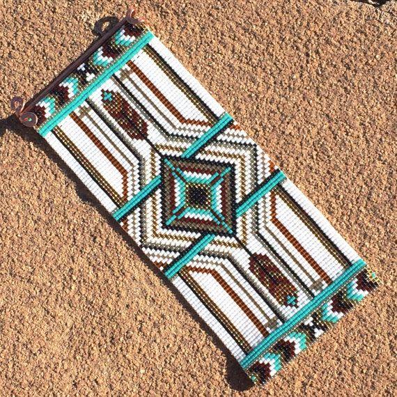 Ultra Wide Tribal Bead Loom Bracelet Cuff Bohemian by PuebloAndCo